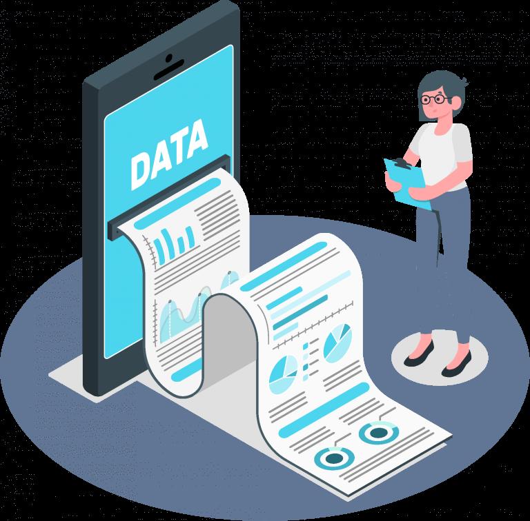 Frau mit Daten